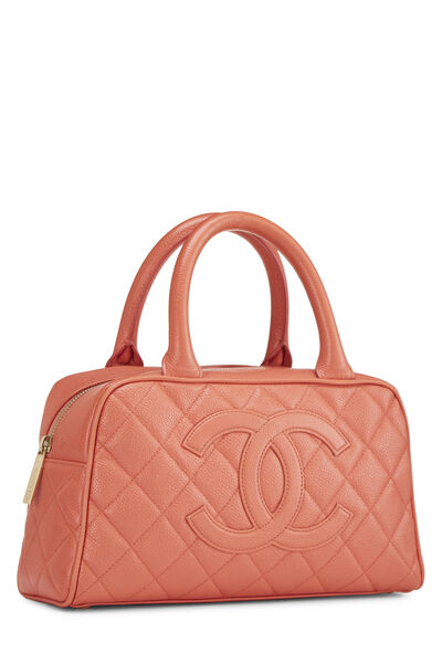 Coral Quilted Caviar Bowler Mini, , large