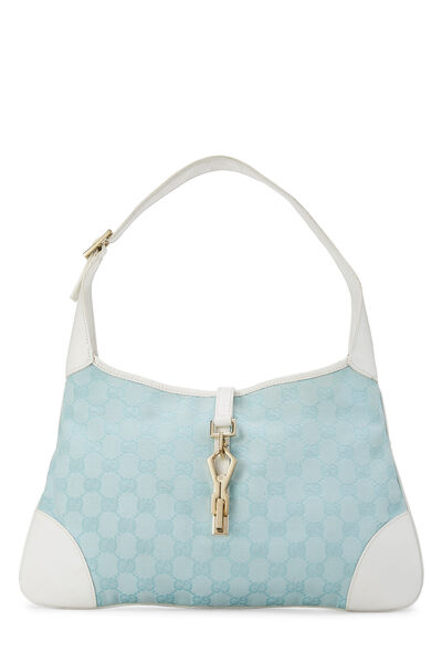 White & Blue GG Canvas Jackie Shoulder Bag Small