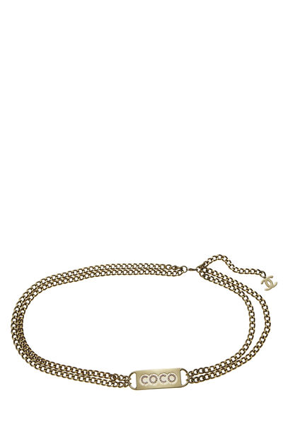 Gold & Pink Crystal Coco Chain Belt