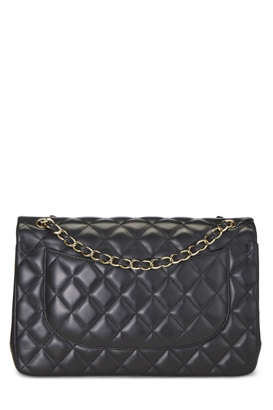 Black Quilted Lambskin New Classic Double Flap Jumbo, , large image number 3