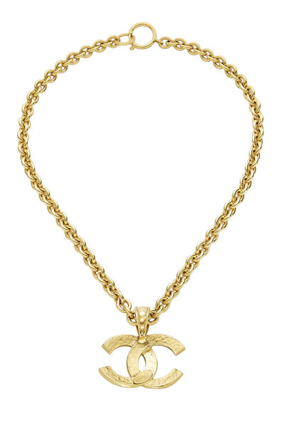 Gold Hammered 'CC' Necklace, , large