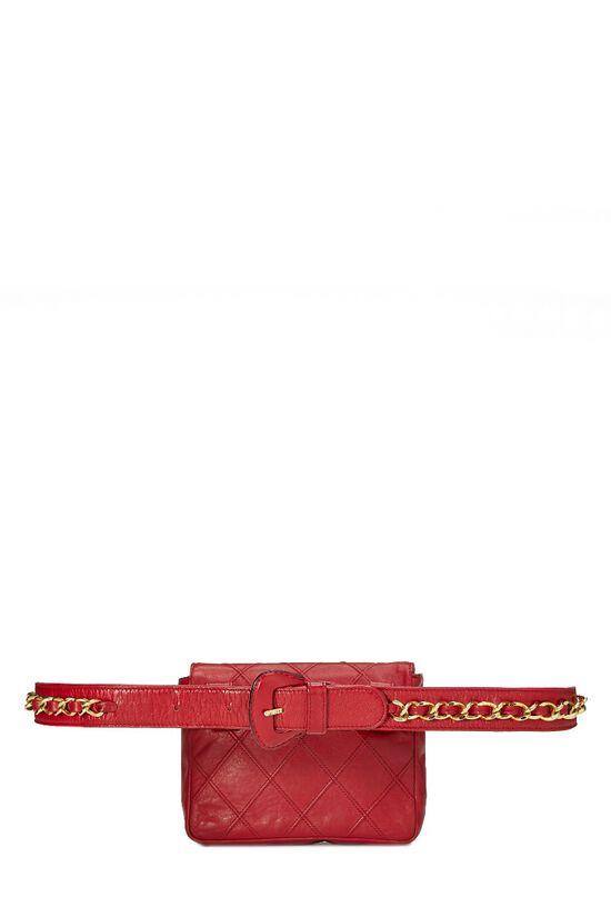 Red Quilted Lambskin Belt Bag, , large image number 3