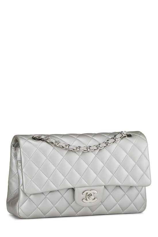 Metallic Silver Quilted Lambskin Classic Double Flap Medium, , large image number 1