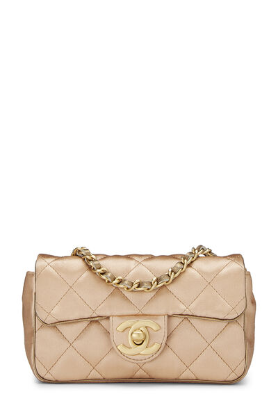 Beige Quilted Satin Half Flap Micro