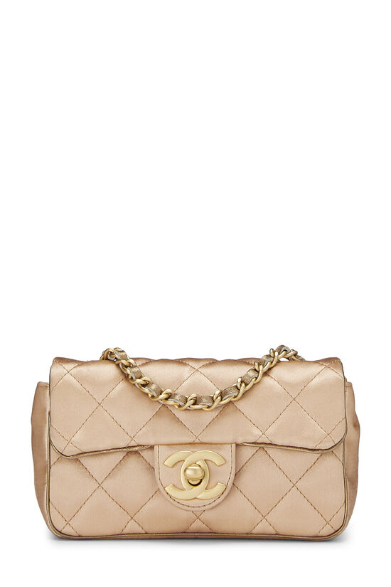 Beige Quilted Satin Half Flap Micro, , large image number 0