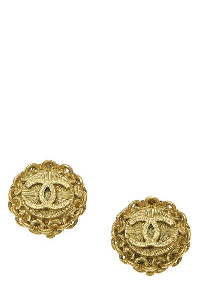 Gold Chain Border 'CC' Earrings Small