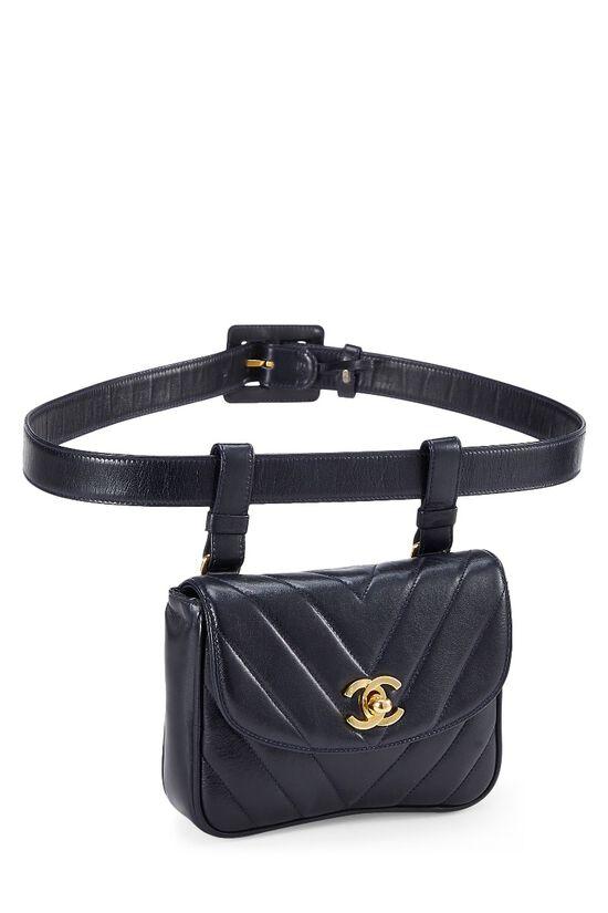 Black Lambskin Chevron Belt Bag, , large image number 1