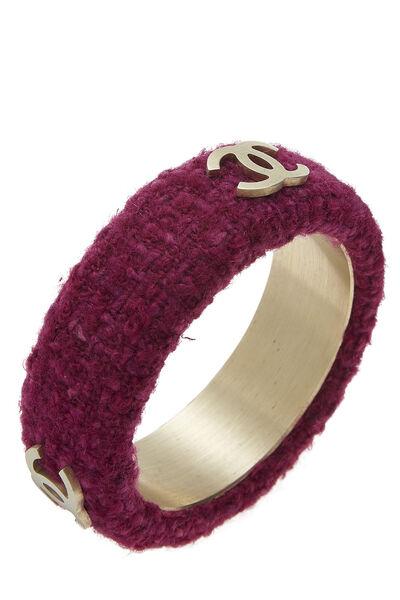 Purple Tweed 'CC' Bangle, , large