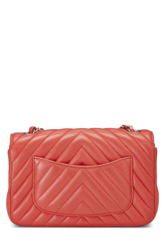Red Chevron Lambskin Rectangular Flap Mini, , large image number 3