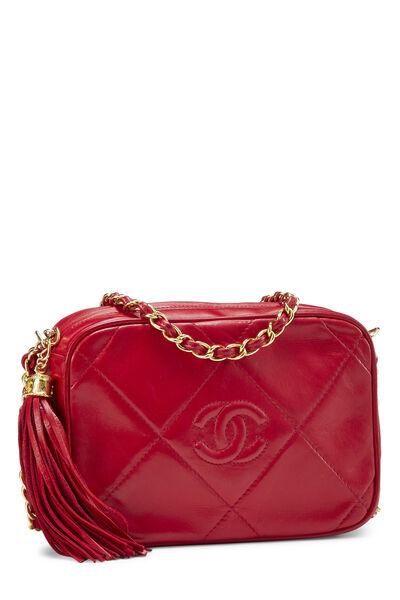 Red Lambskin Diamond 'CC' Camera Bag Mini, , large