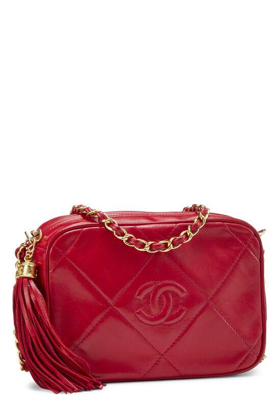 Red Lambskin Diamond 'CC' Camera Bag Mini, , large image number 1