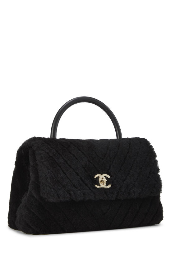 Black Chevron Shearling Coco Handle Bag, , large image number 2