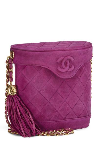 Purple Quilted Suede Binocular Bag Medium, , large