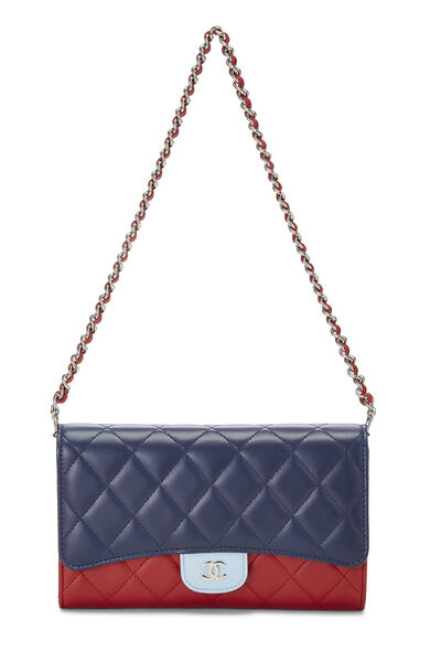 Red & Blue Quilted Lambskin Convertible Clutch