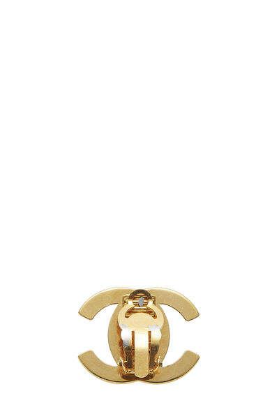 Gold & Crystal 'CC' Turnlock Earrings Medium, , large