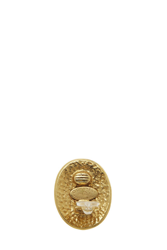 Gold Oval 'CC' Earrings, , large image number 2
