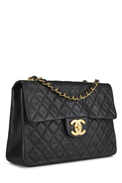 Black Quilted Lambskin Half Flap Maxi, , large