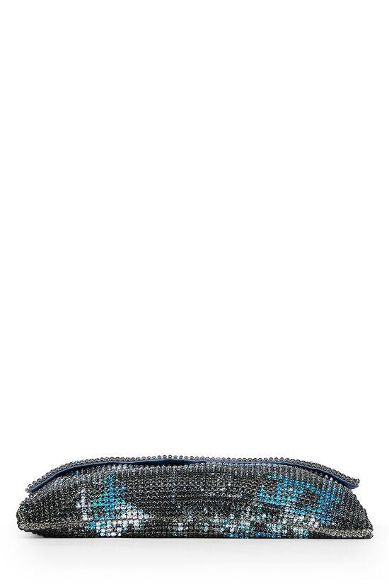 Grey & Blue Graffiti Rhinestone Chain Mail Bag, , large image number 4