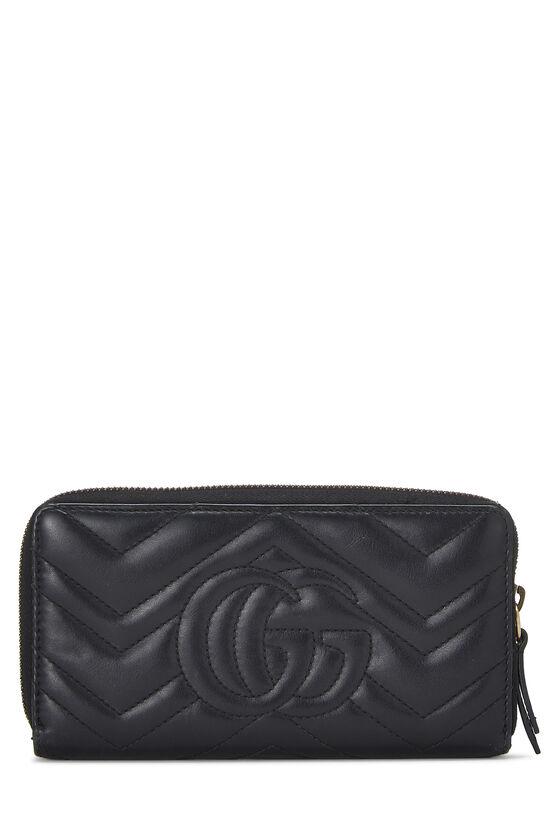 Black Leather 'GG' Marmont Wallet, , large image number 2