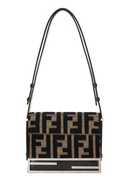 Brown & Black Velvet Zucca Shoulder Bag Small