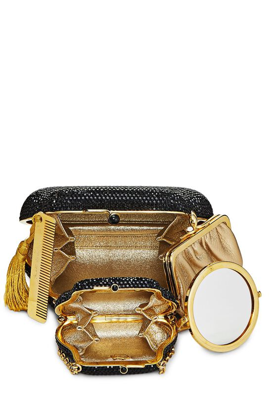 Black Crystal Double Purse Minaudiere, , large image number 5