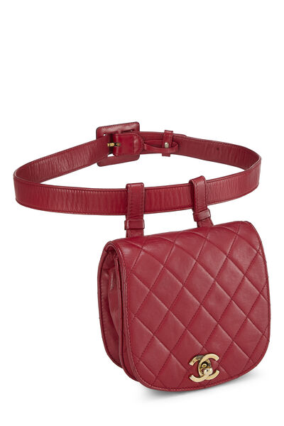 Red Quilted Lambskin Pouch Belt Bag, , large