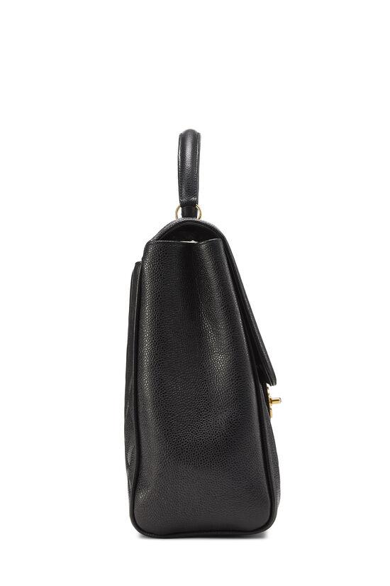 Black Quilted Caviar Handbag, , large image number 2