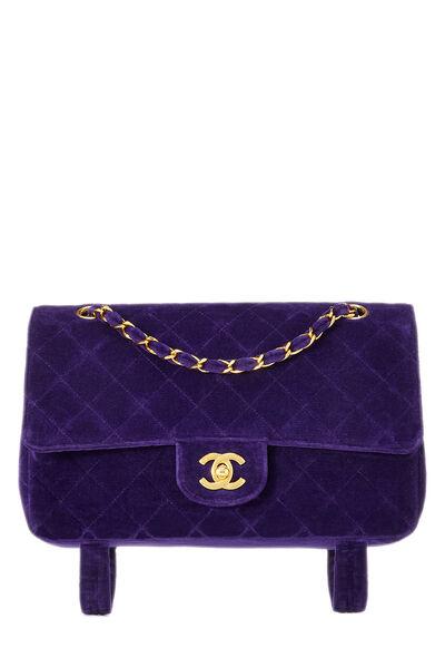 Purple Quilted Velour Magazine Flap Medium
