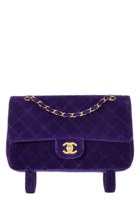 Purple Quilted Velour Magazine Flap Medium, , large image number 0