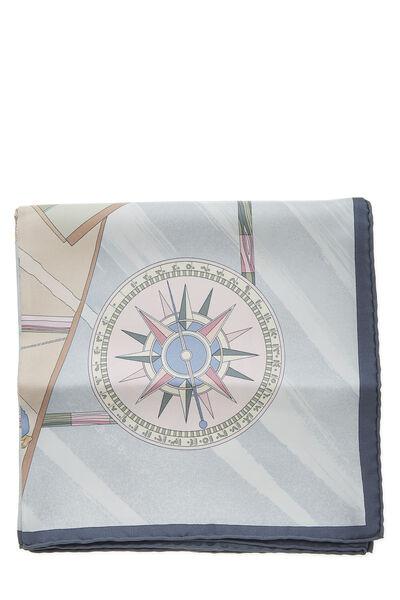 Grey & Multicolor 'Face Au Large' Silk Scarf 90, , large
