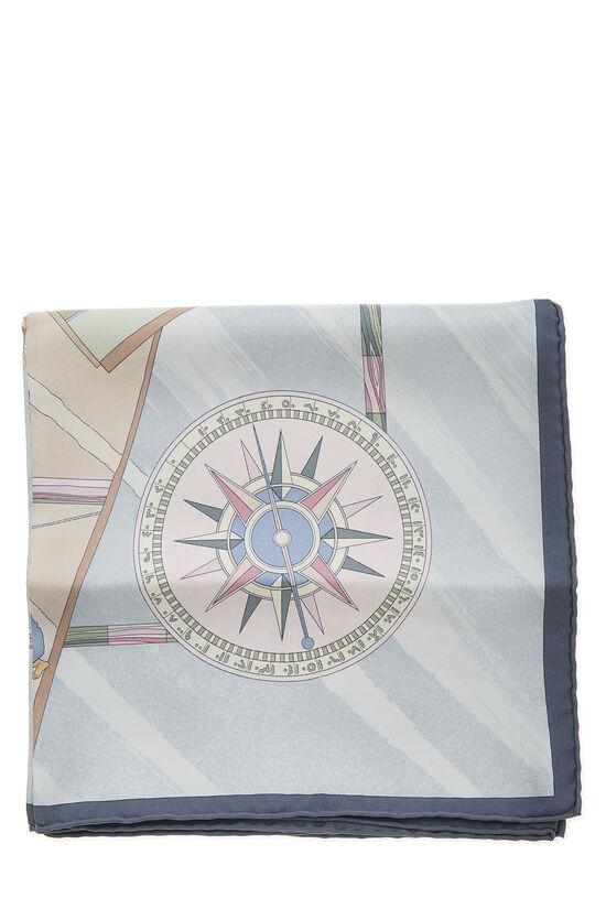 Grey & Multicolor 'Face Au Large' Silk Scarf 90, , large image number 1