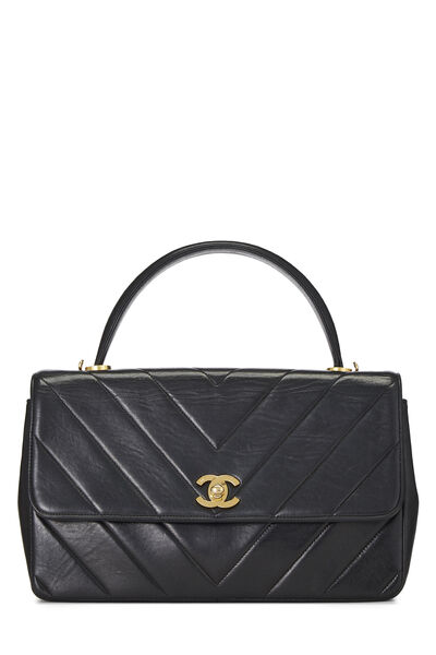 Black Chevron Lambskin Top Handle Bag