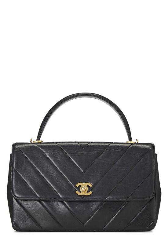 Black Chevron Lambskin Top Handle Bag, , large image number 0