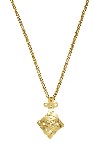 Gold Woven 'CC' Necklace, , large