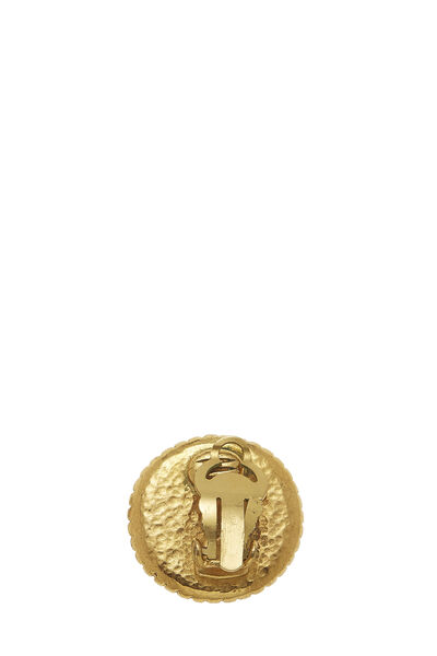 Gold Border 'CC' Round Earrings, , large