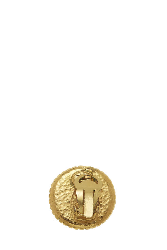 Gold Border 'CC' Round Earrings, , large image number 1