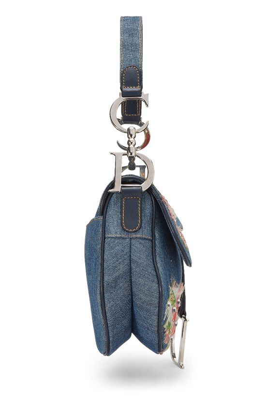 Blue Denim Floral Saddle Bag, , large image number 2