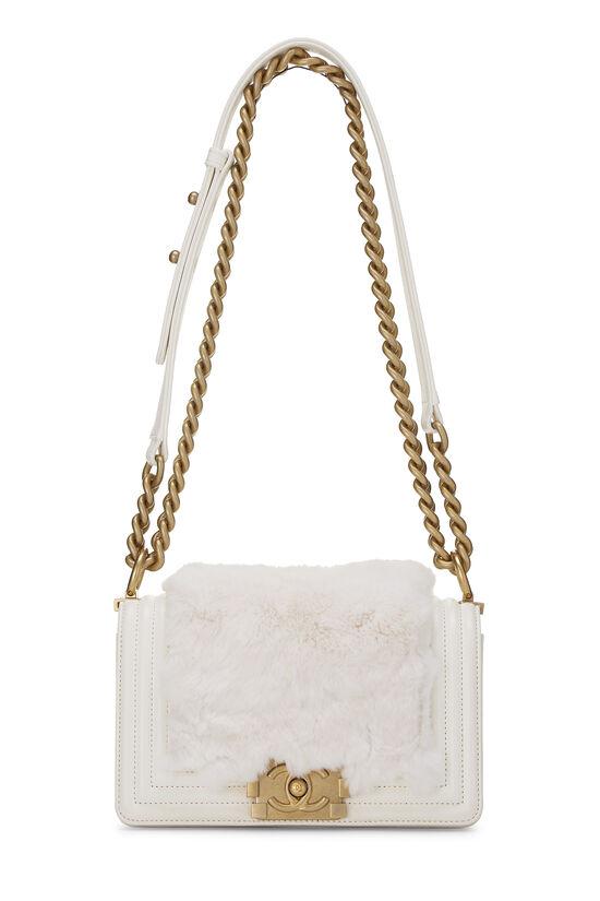 White Fur & Calfskin Boy Bag Small, , large image number 1