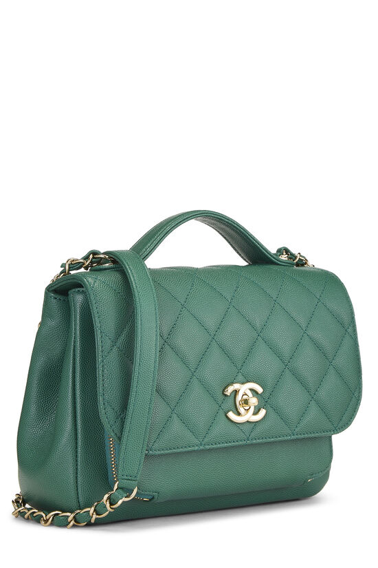 Green Quilted Caviar Business Affinity Bag Medium, , large image number 2