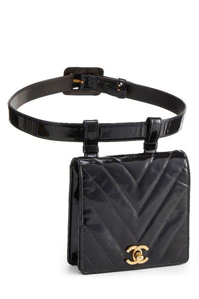 Black Chevron Patent Leather Belt Bag, , large
