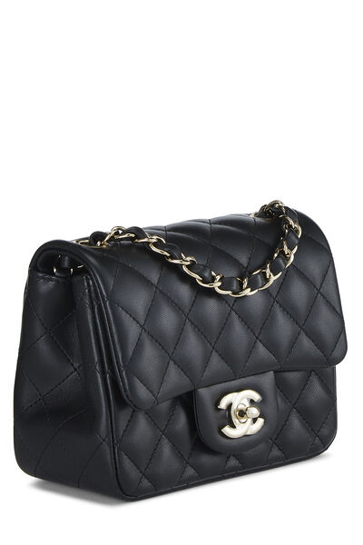 Black Quilted Lambskin Classic Square Flap Mini, , large