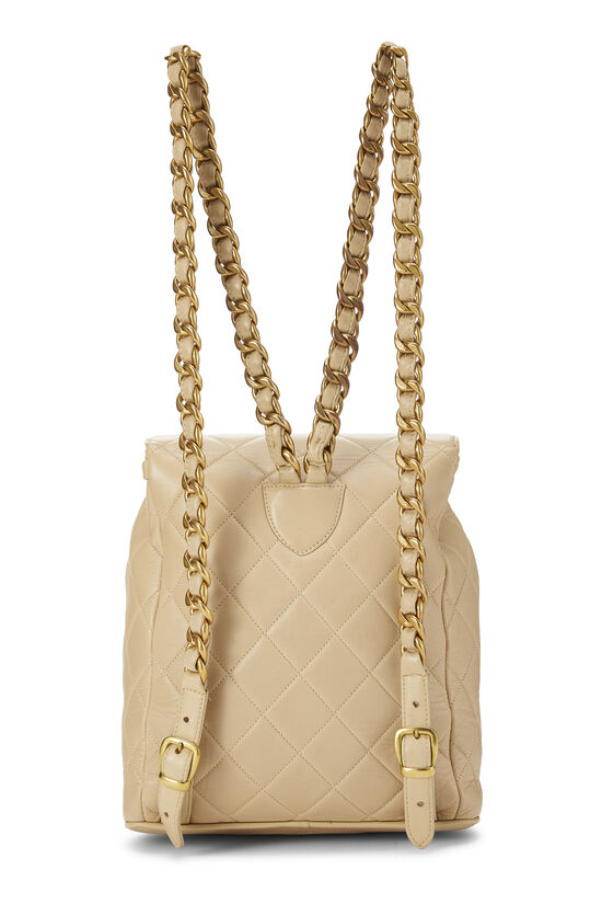 Beige Quilted Lambskin 'CC' Classic Backpack Small, , large image number 3