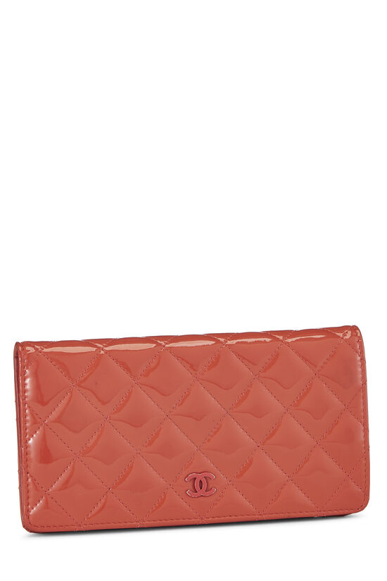 Orange Quilted Patent Leather Long Wallet, , large image number 1