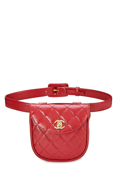 Red Quilted Caviar Belt Bag 30
