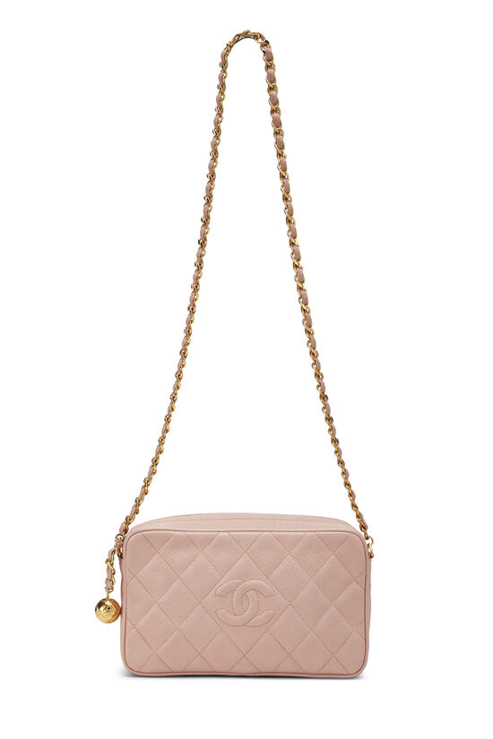 Pink Quilted Caviar Diamond Camera Bag Small , , large image number 6