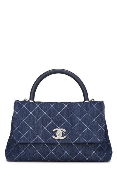 Blue Quilted Denim Coco Handle Bag Small