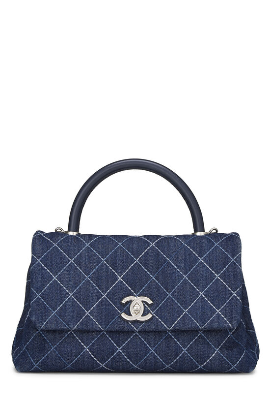 Blue Quilted Denim Coco Handle Bag Small, , large image number 0
