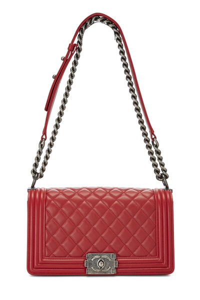 Red Quilted Lambskin Boy Bag Medium, , large