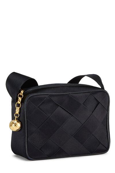 Black Woven Satin Shoulder Bag Small, , large