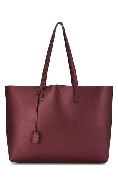 Metallic Burgundy Leather Shopping Bag East/West